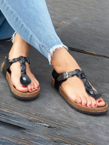 Black Round Toe Flat Buckle Fashion Ankle Sandals