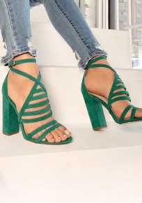 Green Round Toe Chunky Cross Strap Buckle Fashion High-Heeled Sandals
