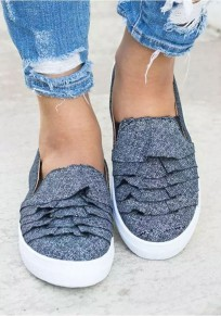 Dark Blue Round Toe Flat Casual Ankle Shoes