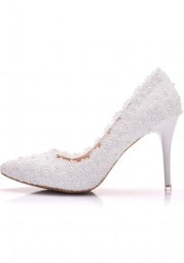 White Point Toe Pearl Lace Stiletto Fashion High-Heeled Shoes