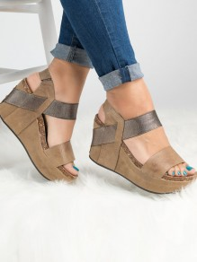 Apricot Round Casual Wedges
