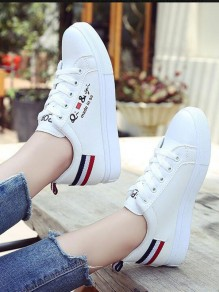 White-Black Round Toe Flat Print Casual Shoes