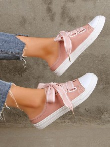 Pink Round Casual Lace-up Ankle Sandals