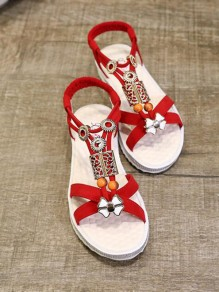 Red Round Toe Flat Rhinestone Fashion Sandals
