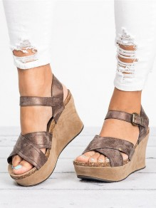 Brown Round Toe Wedges Cross Strap Buckle Fashion High-Heeled Sandals