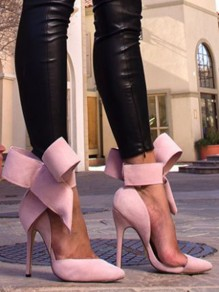 Pink Point Toe Bow Fashion High-Heeled Shoes