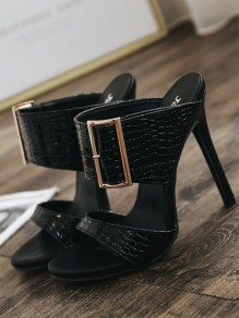 Silver Point Toe Fashion Mid-Heeled Sandals