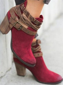 Red Round Toe Chunky Fashion Mid-Heeled Boots