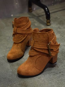 Brown Round Toe Chunky Fashion Ankle Boots