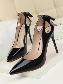 Black Point Toe Stiletto Bow Cut Out Fashion High-Heeled Shoes