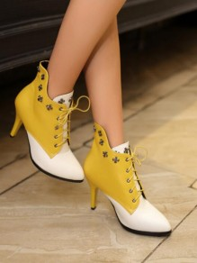 Yellow Point Toe Stiletto Rivet Patchwork Fashion Boots