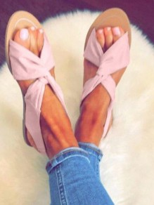 Pink Round Toe Fashion Ankle Sandals