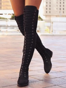 Black Round Toe Lace up Over The Knee Thigh High Fashion Flat Boots