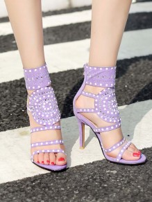 Purple Round Rhinestone Fashion High-Heeled Sandals