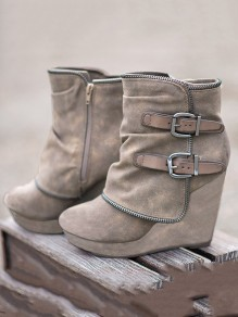 Khaki Round Toe Wedges Fashion Ankle Boots