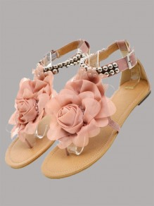 Pink Round Toe Sequin Fashion Ankle Sandals