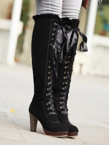Black Round Toe Chunky Knee-High Fashion High-Heeled Boots