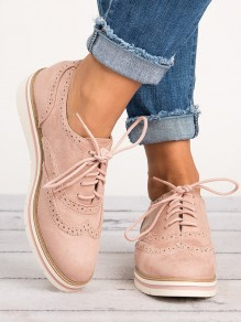 Pink Round Toe Flat Fashion Ankle Shoes