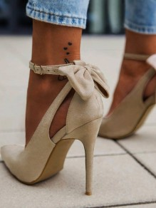 Apricot Point Toe Stiletto Bow Cut Out Fashion High-Heeled Shoes