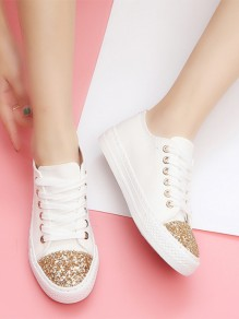 White Round Toe Sequin Lace-up Fashion Ankle Shoes