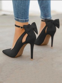 Black Round Toe Stiletto Bow Fashion Elegant Party High-Heeled Shoes