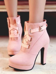 Pink Round Toe Chunky Buckle Fashion Ankle Boots