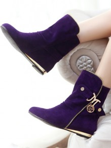 Purple Round Toe Zipper Belt Buckle Fashion Mid-Calf Boots
