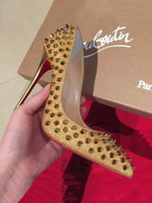 Golden Point Toe Stiletto Rivet Fashion Shoes