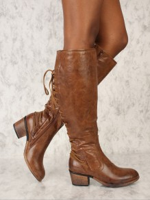 Brown Round Toe Lace-up Chunky Fashion Boots