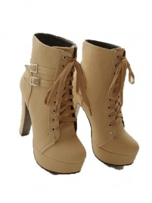 Beige Round Toe Fashion Ankle Boots