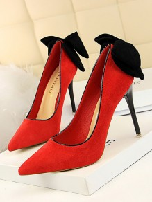 Red Point Toe Stiletto Bow Fashion High-Heeled Shoes