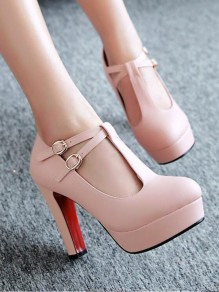 Pink Round Toe Chunky Cut Out Buckle Fashion High-Heeled Shoes
