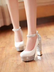 White Round Toe Sequin Chunky High-Heeled Shoes