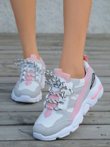 Pink Round Toe Lace-up Fashion Ankle Shoes