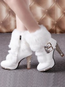 White Round Toe Chunky Rhinestone Faux Fur Patchwork Fashion Mid-Calf Boots