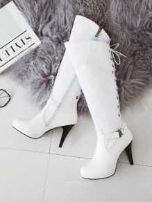 White Round Toe Stiletto Buckle Cross Strap Fashion Knee-High Boots