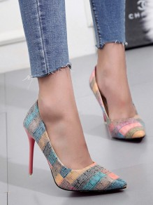 Multicolor Point Toe Print Fashion High-Heeled Shoes