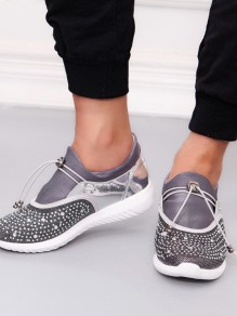 Grey Round Toe Rhinestone Fashion Ankle Shoes