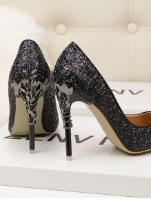 Black Point Toe Stiletto Sequin Fashion High-Heeled Shoes