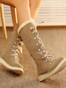 Beige Round Toe Flat Faux Fur Lace-up Fashion Mid-Calf Boots