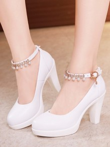 White Round Toe Pearl Chunky High-Heeled Shoes