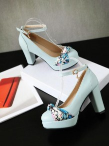 Blue Round Toe Chunky Bow Patchwork Fashion High-Heeled Shoes