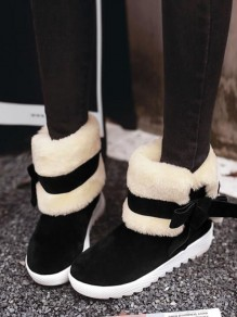 Black Round Toe Bow Fashion Ankle Boots