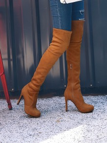 Brown Round Toe Stiletto Suede Zipper Fashion Over-The-Knee High Heeled Boots
