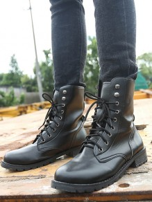 Black Round Toe Flat Lace-up Fashion Ankle Martin Boots