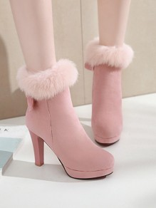 Pink Round Toe Stiletto Bow Faux Fur Fashion Ankle Boots