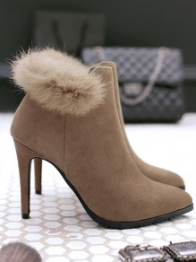 Khaki Point Toe Stiletto Faux Fur Fashion Ankle Boots