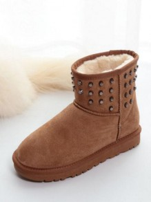 Camel Round Toe Flat Rivet Fashion Ankle Boots