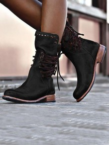 Black Round Toe Chunky Rivet Cross Strap Fashion Ankle Boots
