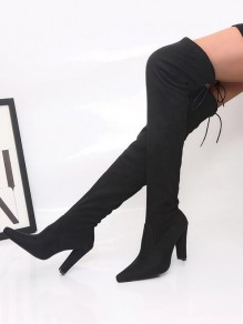 Black Point Toe Chunky Cross Strap Fashion Over-The-Knee Boots